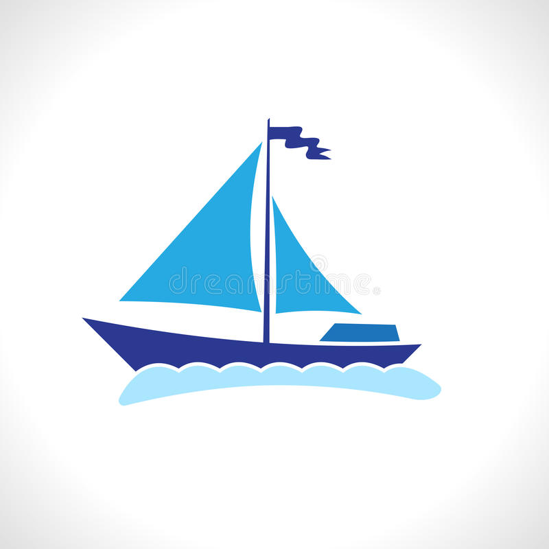 Sail ship isolated vector illustration