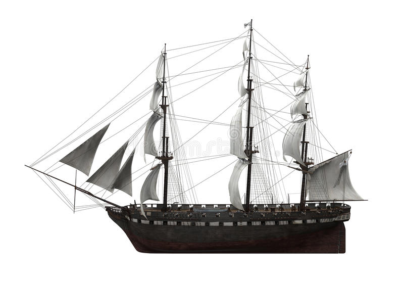 Sail Ship Isolated stock illustration