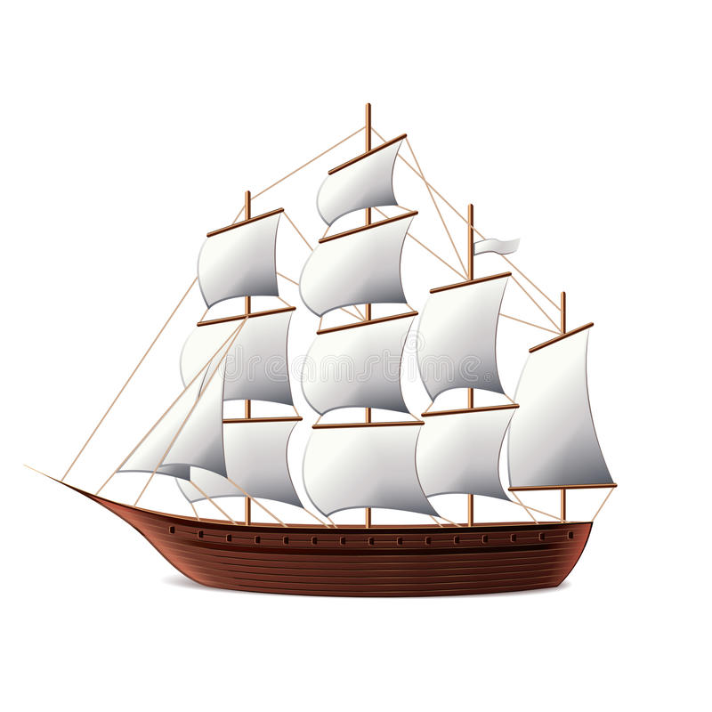 Sail ship isolated on white vector royalty free illustration