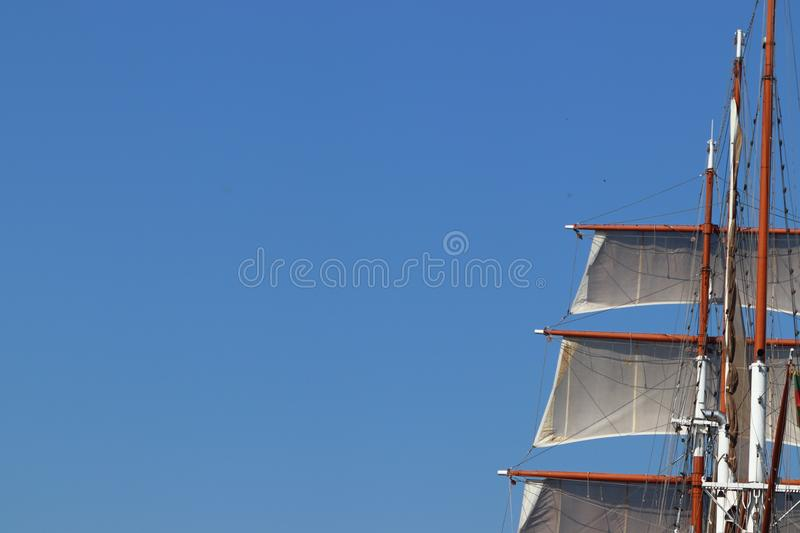 Sail ship with mast in Klaipeda in Lithuania royalty free stock photography