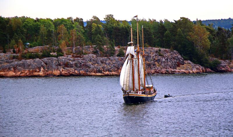 Sail ship. Photo in vintage image style stock photography