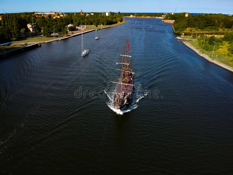 Sail ships on River stock photography