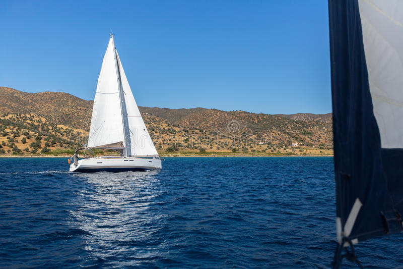 Download Sail Yachts In Open The Sea. Stock Photo - Image: 83715901
