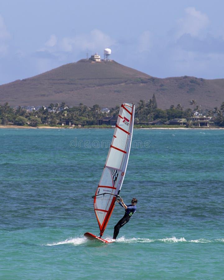 Sailboarding. Event: KKC Classic 15.VI.19.Location: offshore Kailua Beach Park, Windward Coast, island of O'ahu, Hawai'i, USA.Subject: A royalty free stock photography