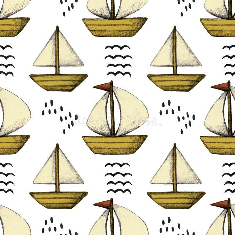 Sailboat μολυβιών άνευ ραφής σχέδιο στο Σκανδιναβικό ύφος απεικόνιση αποθεμάτων