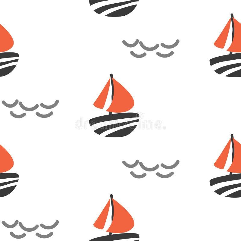 Sailboat άνευ ραφής διανυσματικό σχέδιο παιδιών στο Σκανδιναβικό ύφος διανυσματική απεικόνιση