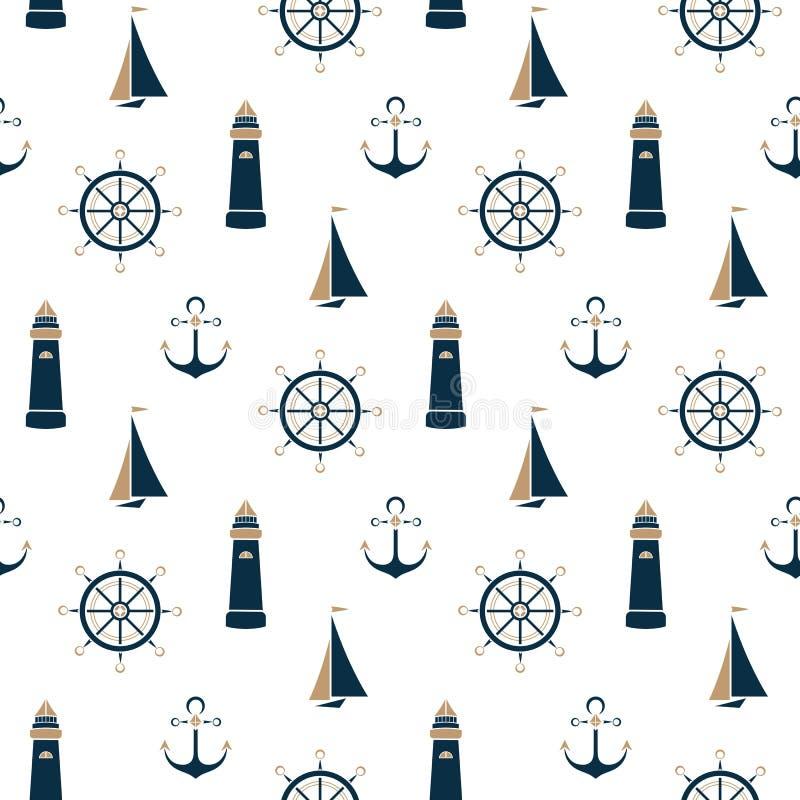 Sailboat, αναγνωριστικό σήμα, άγκυρα, άνευ ραφής σχέδιο τιμονιών διανυσματική απεικόνιση