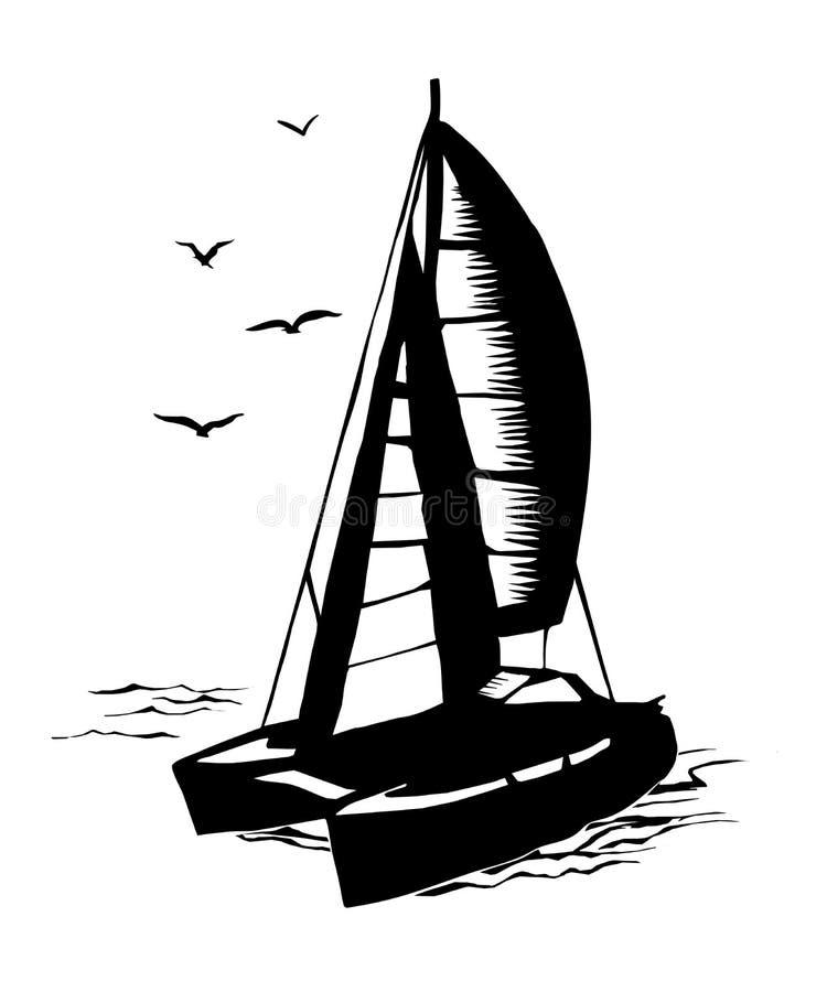 Sailboat καταμαράν μονοχρωματική σκιαγραφία ελεύθερη απεικόνιση δικαιώματος