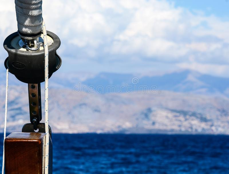 Sailboat λεπτομέρεια βαρούλκων στοκ φωτογραφίες
