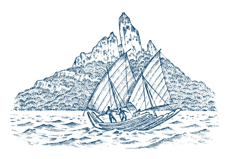 Sailboat στη θάλασσα σε ένα υπόβαθρο των βουνών, θερινή περιπέτεια, ενεργές διακοπές Σκάφος θαλάσσης, θαλάσσιο σκάφος ή απεικόνιση αποθεμάτων