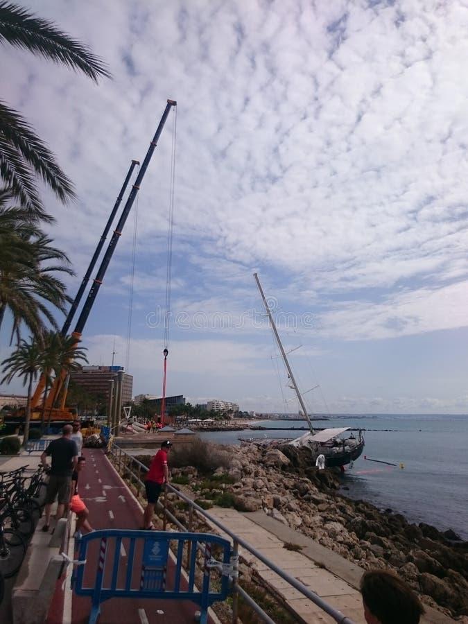 sailboat στη Πάλμα ντε Μαγιόρκα στοκ εικόνα με δικαίωμα ελεύθερης χρήσης