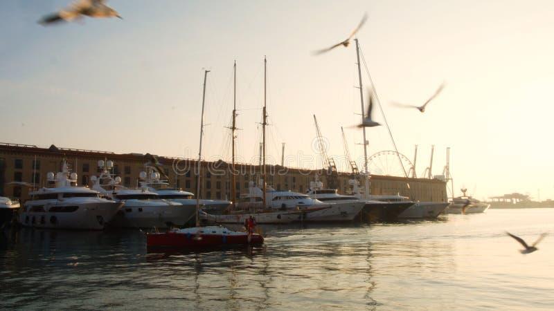 Sailboat στο ηλιοβασίλεμα στον αρχαίο λιμένα της Γένοβας, seagulls που πετά στον ουρανό στοκ φωτογραφία