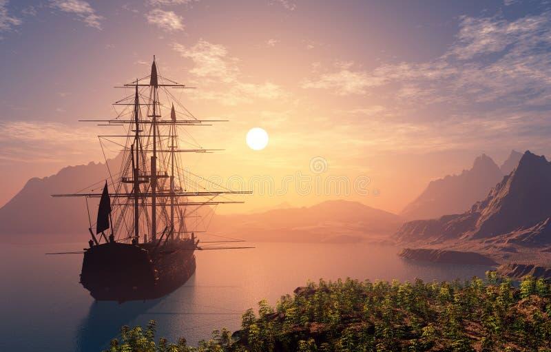 Sailboat ilustração stock