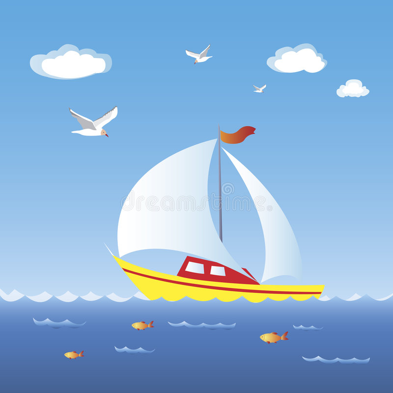 Download Sailboat stock vector. Image of boating, bird, relax, seascape - 8170909
