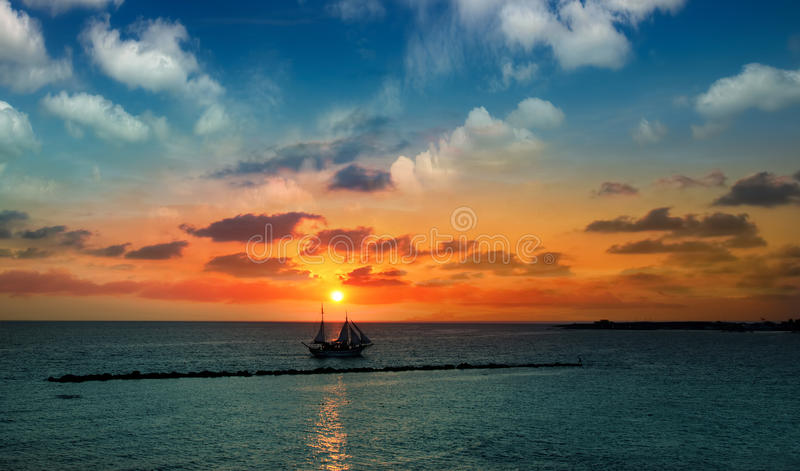Sailboat against a background royalty free stock photos