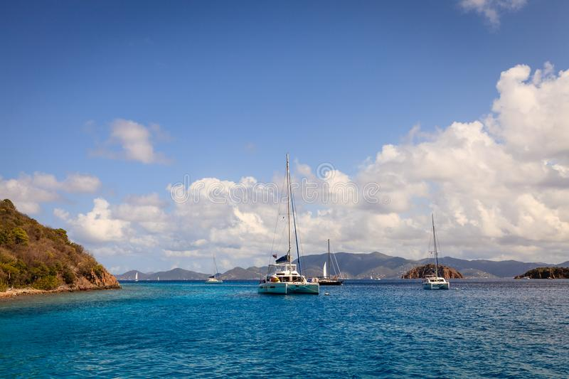 Sailboat anchorage in British Virgin Islands. Sailboats anchored in a harbor in British Virgin Islands royalty free stock photography