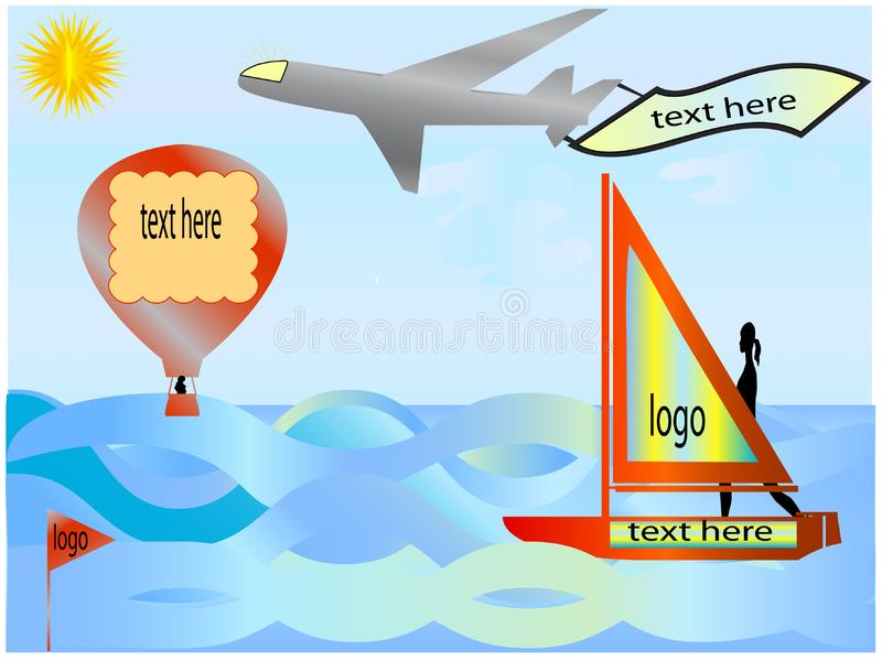 Download Sailboat, Balloon And Plane Stock Vector - Illustration of machine, airplane: 5938877