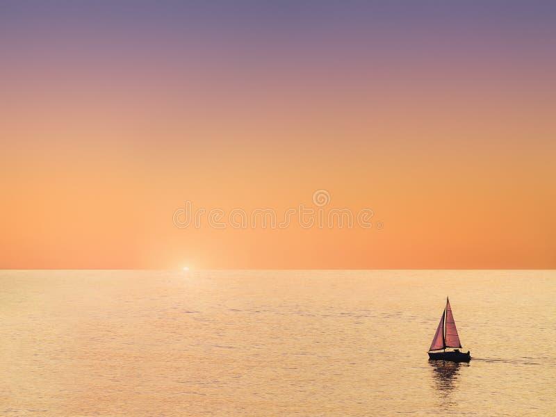 Sailboat at beautiful sunset royalty free stock image