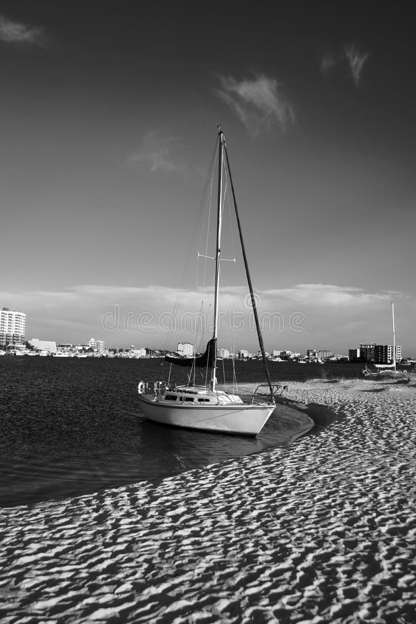 Sailboat In Black And White Stock Image - Image of ocean ...