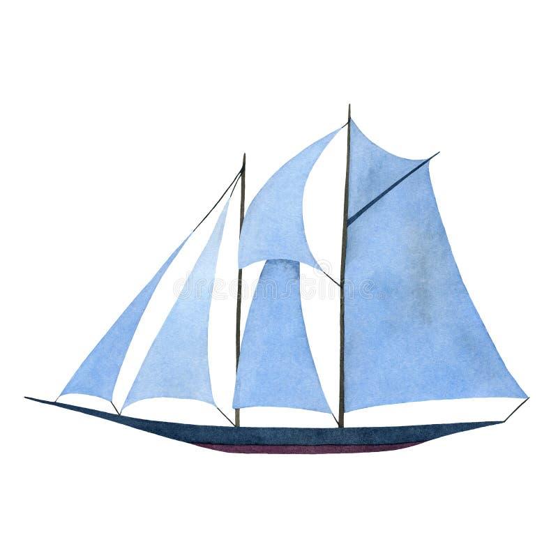 Sailboat with blue sails. Handmade watercolor illustration royalty free illustration