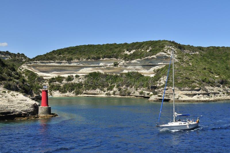 Sailboat in Bonifacio Gulf, Corse, France royalty free stock photos