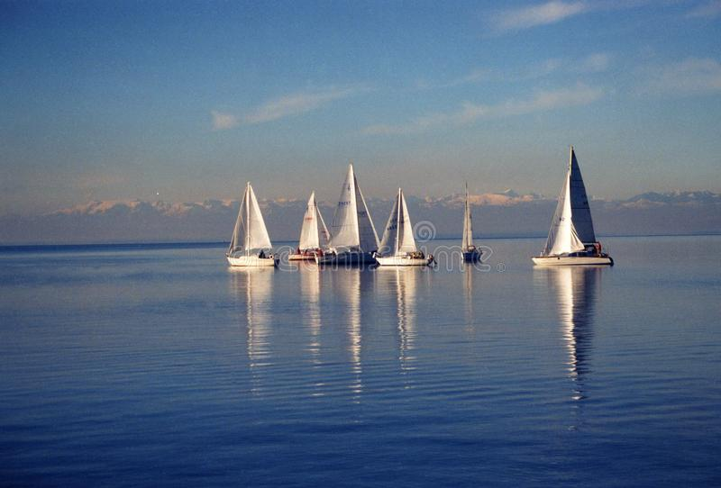 Sailboat, Calm, Sail, Waterway royalty free stock photos