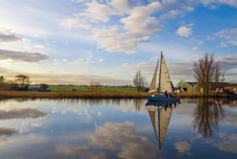 Sailboat. On a canal, The Netherlands stock image
