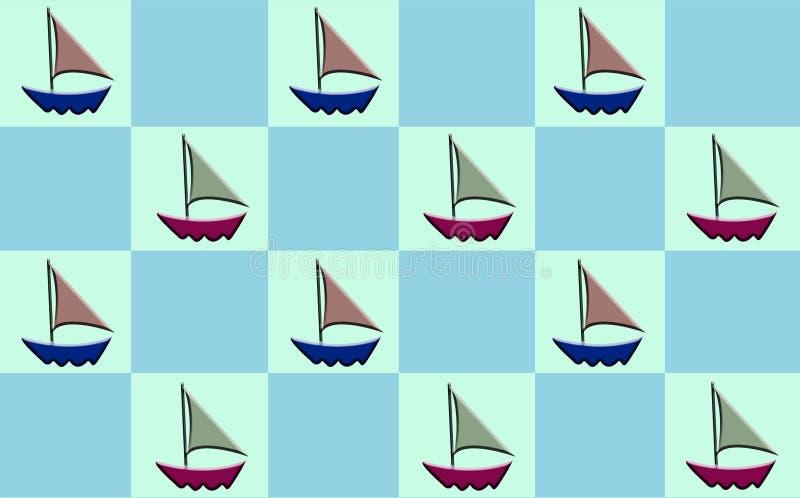 Sailboat Checker. Sailboat pattern on checker board royalty free illustration