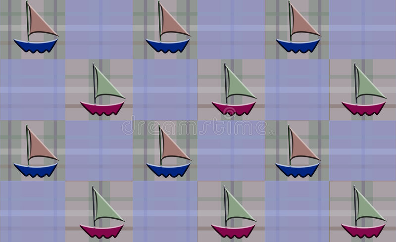 Sailboat Checkered Plaid Royalty Free Stock Photography