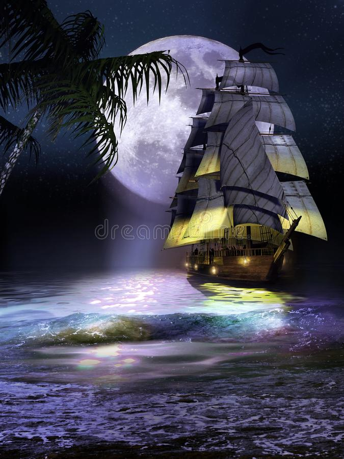 Sailboat on the coast at night. Sailboat reaching the coast of an island with palm trees, at night, under the full blue moon vector illustration