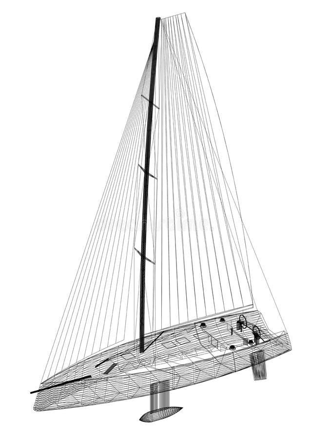 Sailboat Design - Architect Blueprint - isolated vector illustration