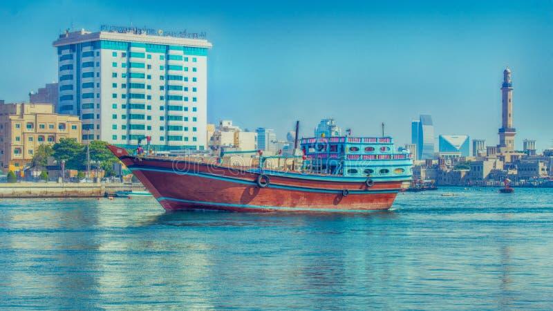 Sailboat on the Dubai creek royalty free stock photo