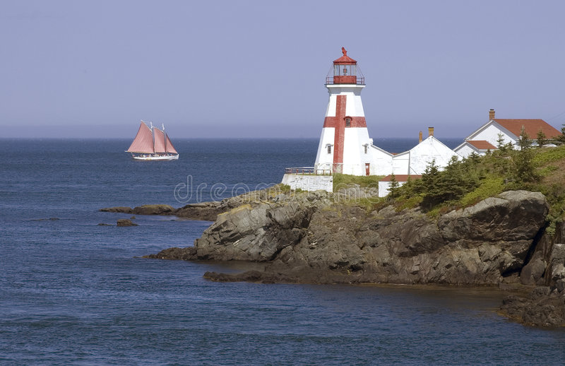 Sailboat and East Quoddy Head Lighthouse royalty free stock photos