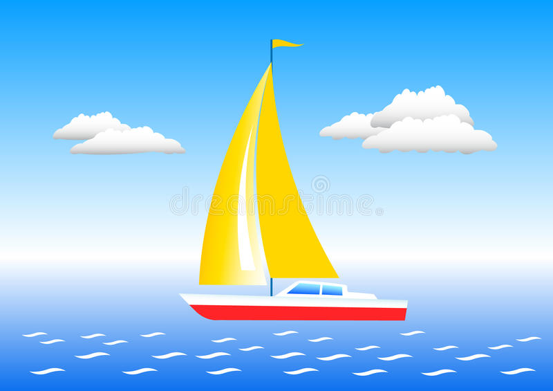 Sailboat em um mar ilustração do vetor