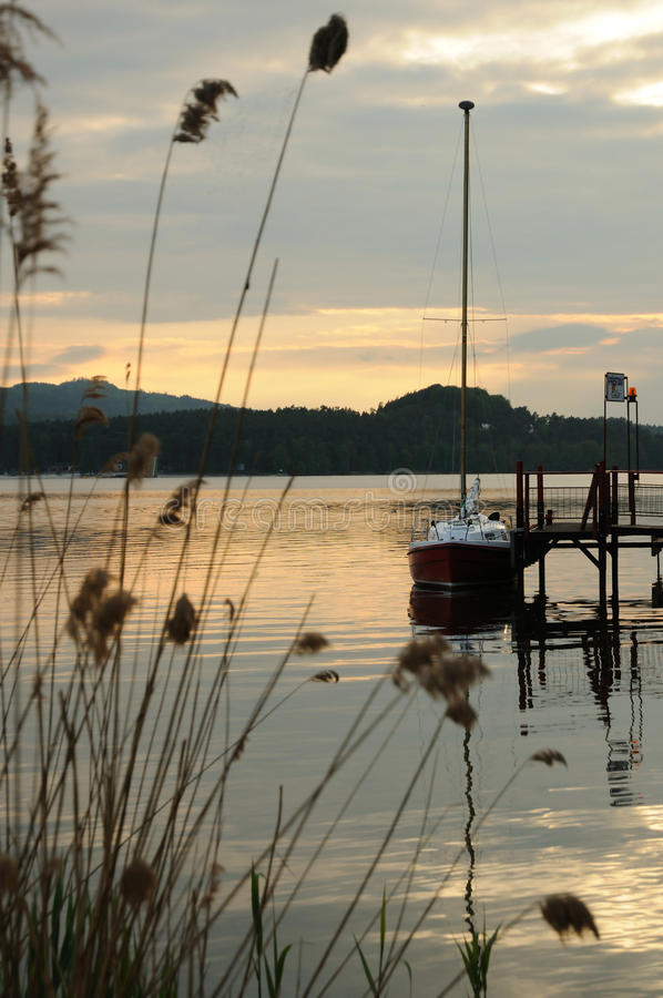 Download Sailboat In Evening Harbour Stock Image - Image: 24842121