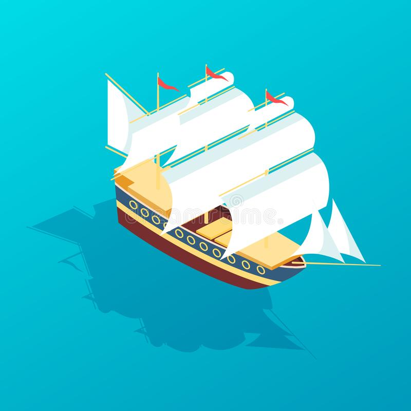 Sailboat frigate for traveling, ship for transporting people and goods. Beautiful sailboat frigate for traveling, large passenger sea ship for transporting royalty free illustration