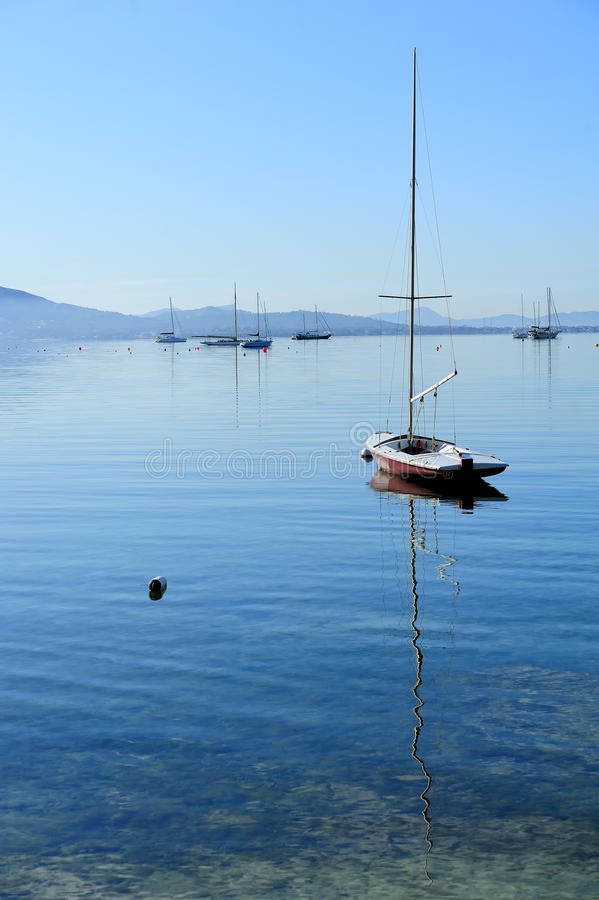 Download Sailboat on glassy water stock photo. Image of majorca - 26560728