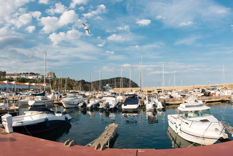 Sailboat harbor, many beautiful moored sail yachts in the sea port, summertime vacation stock image