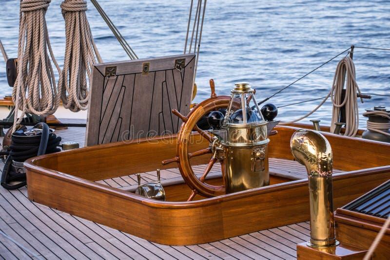 Sailboat Helm stock photo