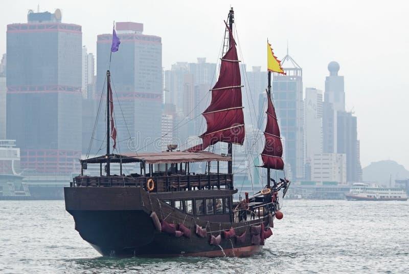 Sailboat in Hong Kong harbor. At day stock photos