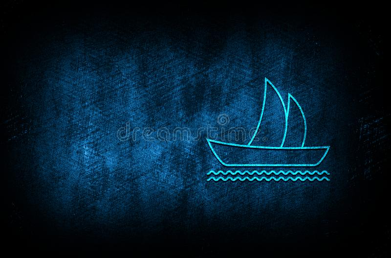 Sailboat icon abstract blue background illustration digital texture design concept. Sailboat icon abstract blue background illustration dark blue digital texture stock illustration