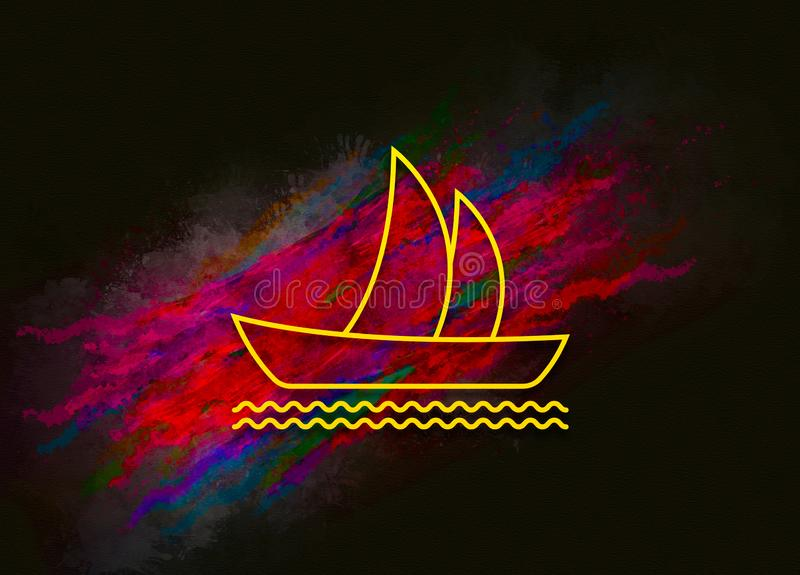 Sailboat icon colorful paint abstract background brush strokes illustration design. Creative bright red color texture fluid liquid waves royalty free illustration