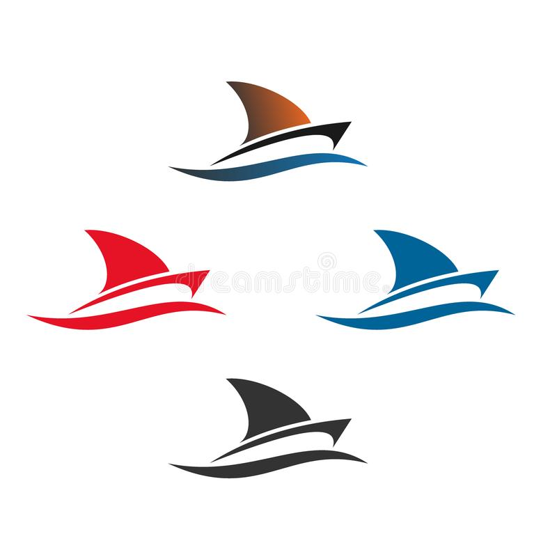 Boat logo design, set color, vector icons. Sailboat illustrated design logo isolated on a white background stock illustration