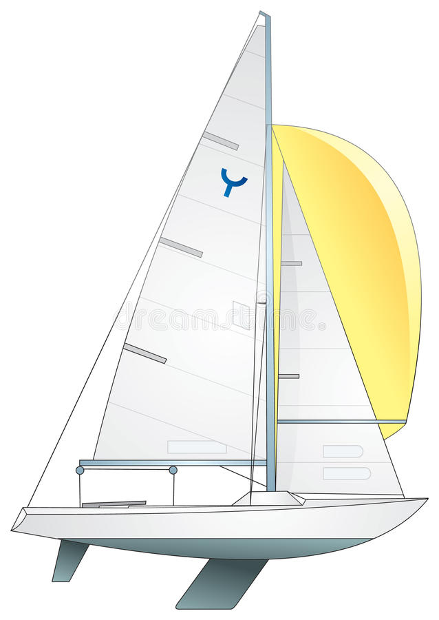 Free Sailboat. International Yngling (keelboat) Class Royalty Free Stock Photos - 15130088