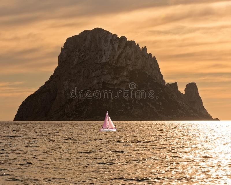 A sailboat on the island of Ibiza, Balearic Islands. Spain stock image