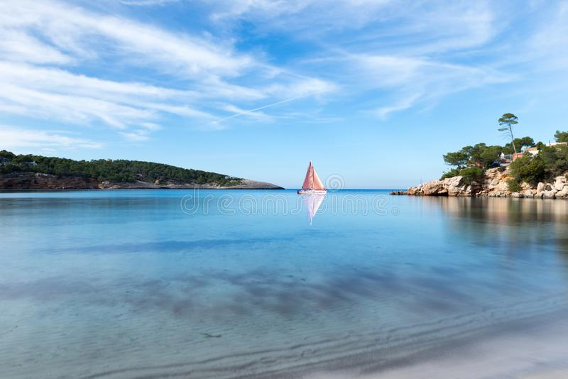 A sailboat on the island of Ibiza, Balearic Islands. Spain royalty free stock photography