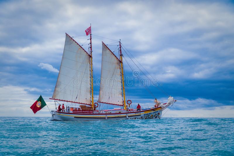 Sailboat in the Lagos ocean. royalty free stock photography