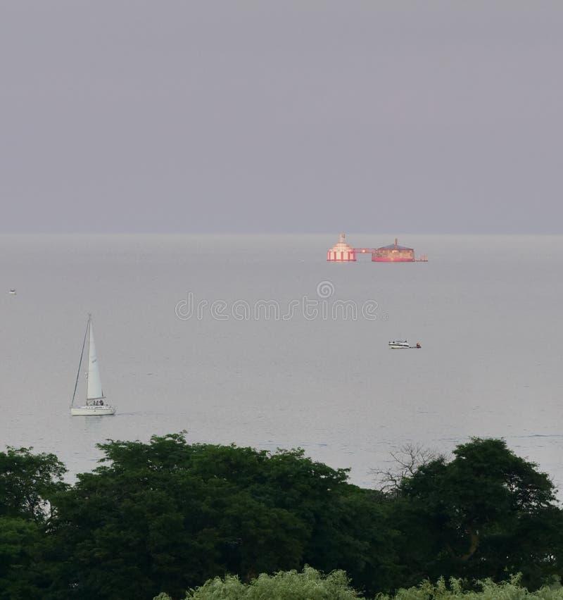 Sailboat on Lake Michigan royalty free stock photography