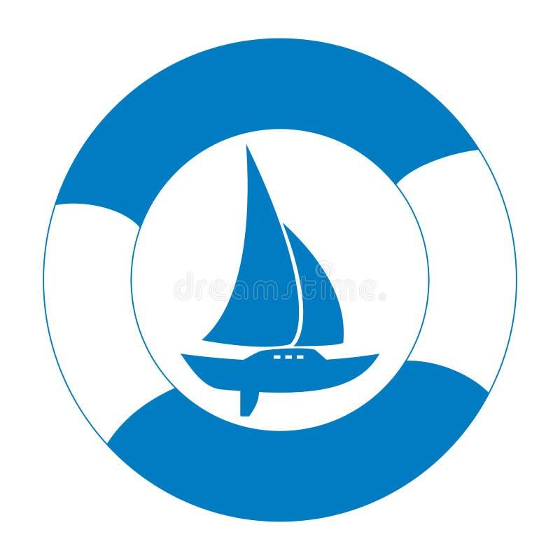 Sailboat and life buoy royalty free illustration