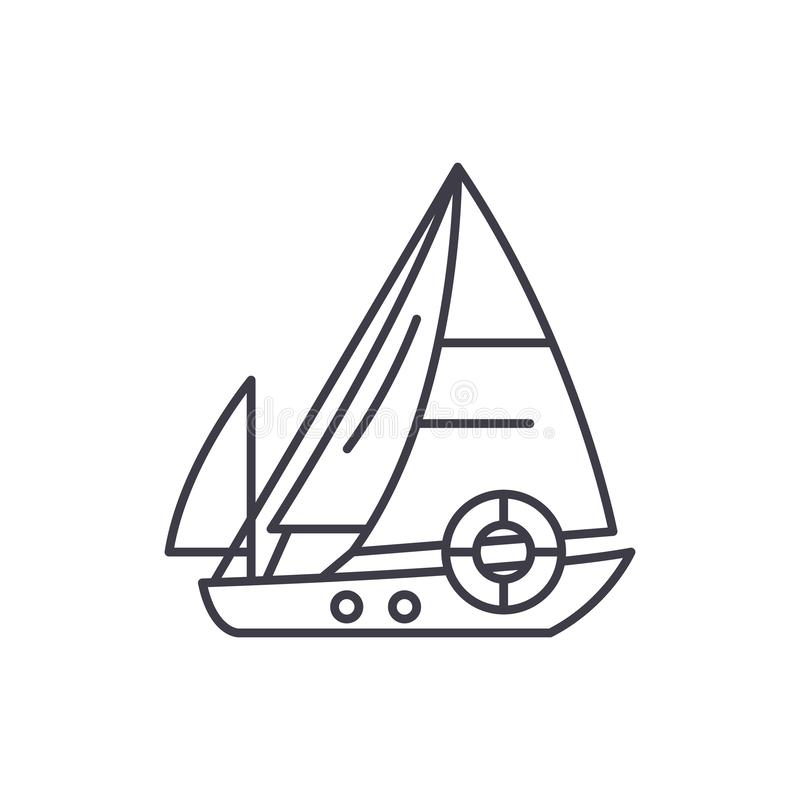 Sailboat line icon concept. Sailboat vector linear illustration, symbol, sign vector illustration